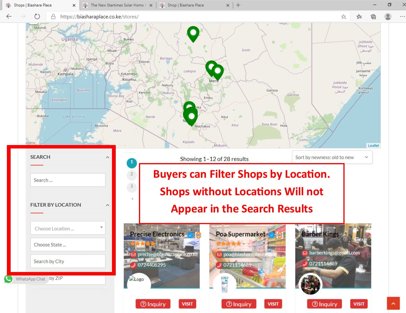 Shops FIlter by Location
