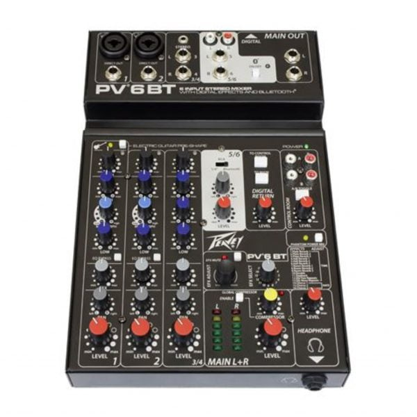 Peavey PV 6BT Compact Mixer 6 Channel with Bluetooth