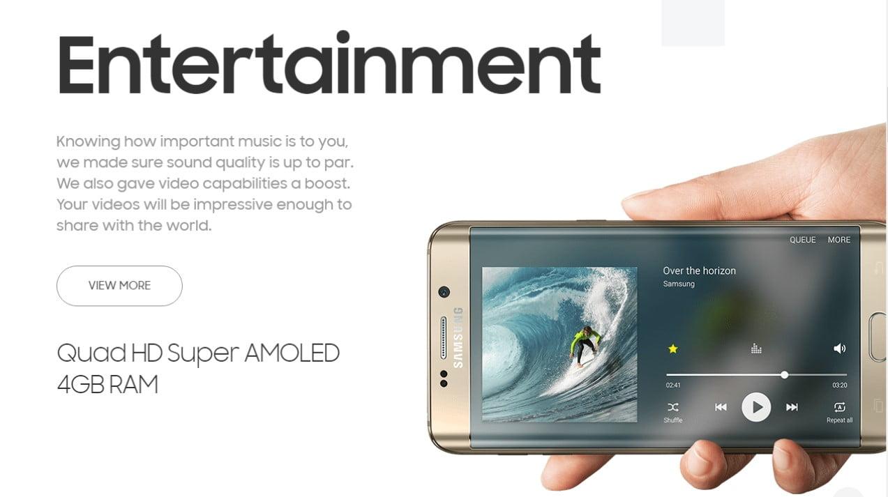 Samsung Galaxy S6 Edge Entertainment